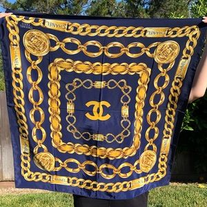 CHANEL Accessories - Chanel Silk Gold Double C Scarf